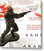 Army Man Standing On Middle East Conflicts Map Metal Print by Amy Cicconi