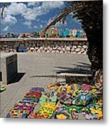 Artwork At Street Market In Curacao Metal Print by Amy Cicconi