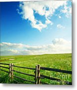 Beautiful Sky On Greens Landscape Metal Print by Boon Mee