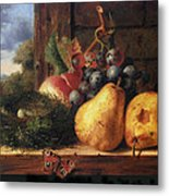 Birds Nest Butterfly And Fruit Metal Print by Edward Ladell