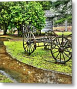 Blue Ridge Parkway Vintage Wagon In The Rain I Metal Print by Dan Carmichael