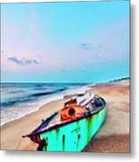 Boat Under Morning Moon Outer Banks I Metal Print by Dan Carmichael