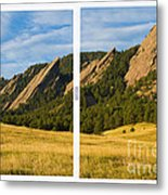 Boulder Colorado Flatirons White Window Frame Scenic View Metal Print by James BO  Insogna