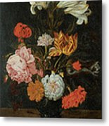 Bouquet In A Roemer Metal Print by Jan Baptist Van Fornenburgh