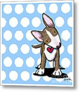 Brindle Bully On Dotted Blue Metal Print by Kim Niles