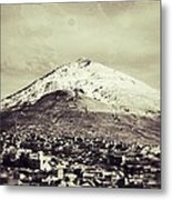 Cerro Rico Potosi Black And White Vintage Metal Print by For Ninety One Days