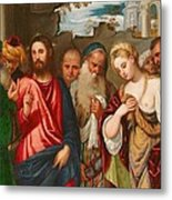 Christ And The Woman Taken In Adultery Metal Print by Veronese