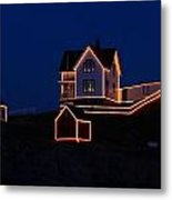 Christmas At Nubble Metal Print by Andrea Galiffi
