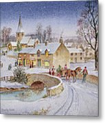 Christmas Eve In The Village  Metal Print by Stanley Cooke