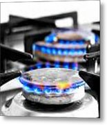 Cooker Gas Hob With Flames Burning Metal Print by Fizzy Image
