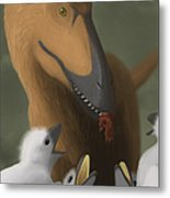 Deinonychus Dinosaur Feeding Its Young Metal Print by Michele Dessi