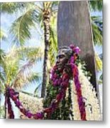 Duke Kahanamoku Covered In Leis Metal Print by Brandon Tabiolo