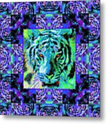Eyes Of The Bengal Tiger Abstract Window 20130205m80 Metal Print by Wingsdomain Art and Photography