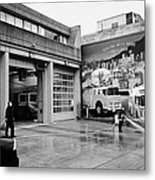 firemen hosing down Vancouver fire rescue services hall 2 in downtown eastside  BC Canada Metal Print by Joe Fox