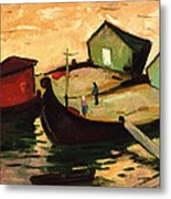 Fishing Barges On The River Sugovica Metal Print by Emil Parrag