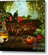 Food Design - Fresh Vegetables In Celery Forest Metal Print by Mythja  Photography