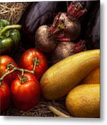 Food - Vegetables - Peppers Tomatoes Squash And Some Turnips Metal Print by Mike Savad