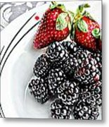 Fruit I - Strawberries - Blackberries Metal Print by Barbara Griffin