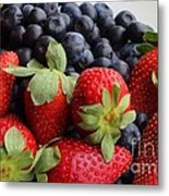 Fruit - Strawberries - Blueberries Metal Print by Barbara Griffin