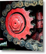 Gear Wheel And Chain Of Old Locomotive Metal Print by Matthias Hauser