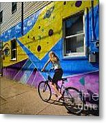 Girl Rides Bicycle Past Mural On The South Side Of Pittsburgh Metal Print by Amy Cicconi