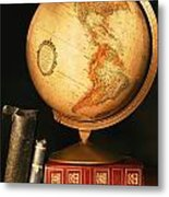 Globe And Books Metal Print by Don Hammond