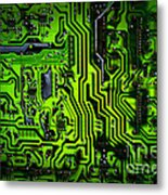 Glowing Green Circuit Board Metal Print by Amy Cicconi
