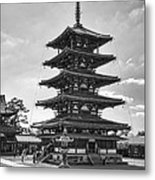 Horyu-ji Temple Pagoda B W - Nara Japan Metal Print by Daniel Hagerman