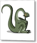 Illustration Of A Brontosaurus Thinking Metal Print by Stocktrek Images