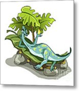 Illustration Of An Iguanodon Sunbathing Metal Print by Stocktrek Images
