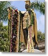 Kamehameha Covered In Leis Metal Print by Brandon Tabiolo