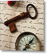 Key Ring And Compass Metal Print by Garry Gay