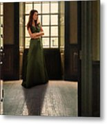 Lady In Green Gown By Window Metal Print by Jill Battaglia