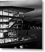 late evening at the Vancouver convention centre west building on burrard inlet BC Canada Metal Print by Joe Fox