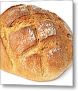 Loaf Of Bread On White Metal Print by Matthias Hauser