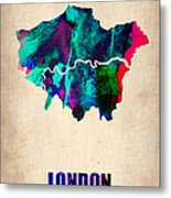 London Watercolor Map 2 Metal Print by Naxart Studio