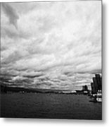 looking out from coal harbour into Vancouver Harbour on an overcast cloudy day BC Canada Metal Print by Joe Fox