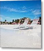Lounge Chairs On Grace Bay Beach Metal Print by Jo Ann Snover