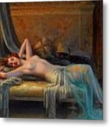 Lying Nude In A Bed Of Roses Metal Print by Delphin Enjolras
