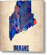 Maine Watercolor Map Metal Print by Naxart Studio