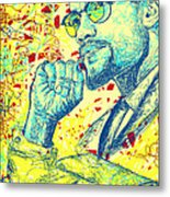 Malcolm X Drawing In Lines Metal Print by Pierre Louis