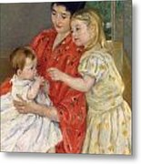 Mother And Sara Admiring The Baby Metal Print by Marry Cassatt