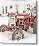 Old Red Tractor In The Snow Metal Print by Edward Fielding