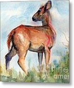 On Second Thought Metal Print by Maria's Watercolor