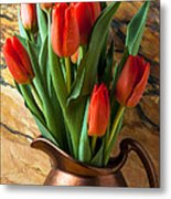 Orange Tulips In Copper Pitcher Metal Print by Garry Gay