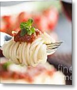 Pasta With Ingredients Metal Print by Mythja  Photography