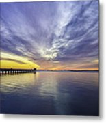 Pier Sunrise Metal Print by Vicki Jauron