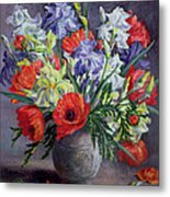 Poppies And Irises Metal Print by Anthea Durose