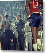 Red Auerbach Talks With Ref Metal Print by Retro Images Archive