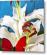 Red Butterfly On White Tiger Lily Metal Print by Garry Gay